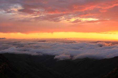 Sunrise from Leslie's Pass on the return from Mafadi